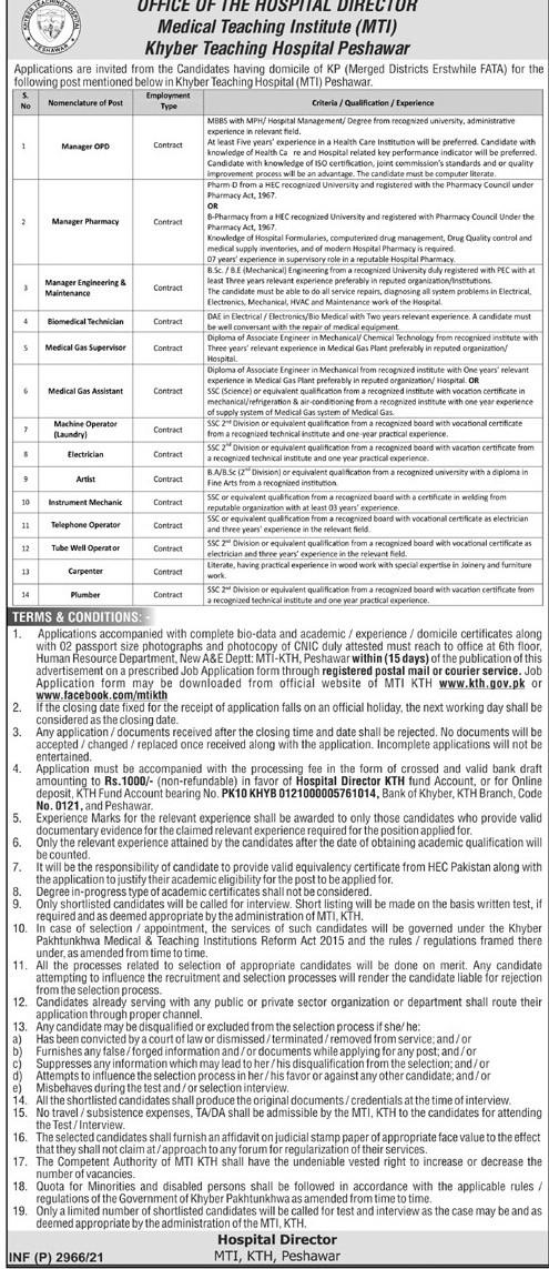 Medical Teaching Institute (MTI) Khyber Teaching Hospital (KTH) Peshawar Jobs 2021