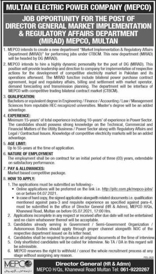 Mepco Jobc Multan 2021 Multan Electric Power Company