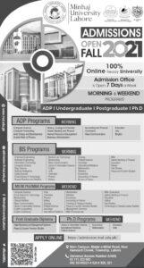 Minhaj University Lahore Admission