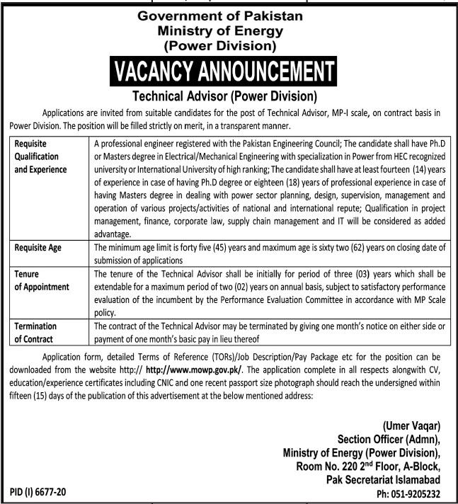 Ministry of Energy Jobs 2021 for Technical Advisor
