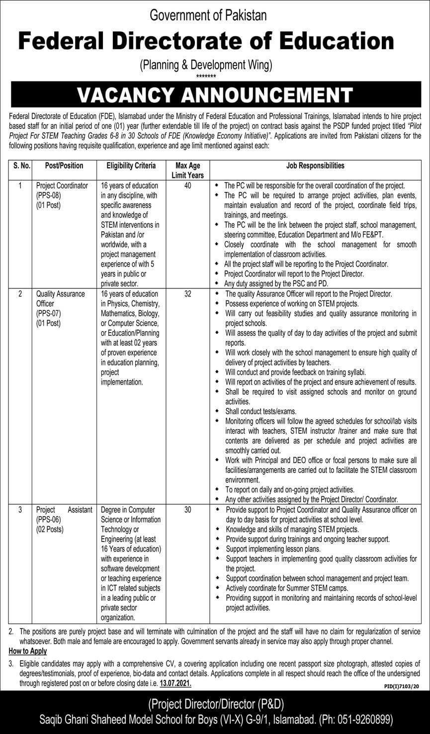 Ministry of Federal Education and Professional Training Jobs June 2021