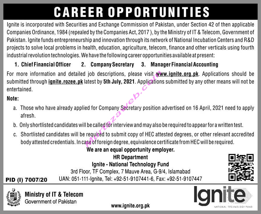 Ministry of IT and Telecom Govt of the Punjab Jobs 2021 www.ignite.org.pk