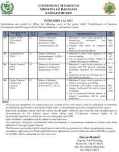 Ministry of Railways Islamabad Jobs 2021 for Deputy Director