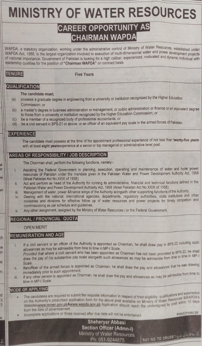 Ministry of Water Resources Islamabad Jobs 2021 for Chairman Wapda