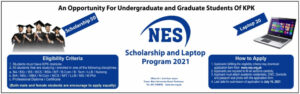NES Scholarship and Laptop Program 2021 for Undergraduate and Graduate Student KPK