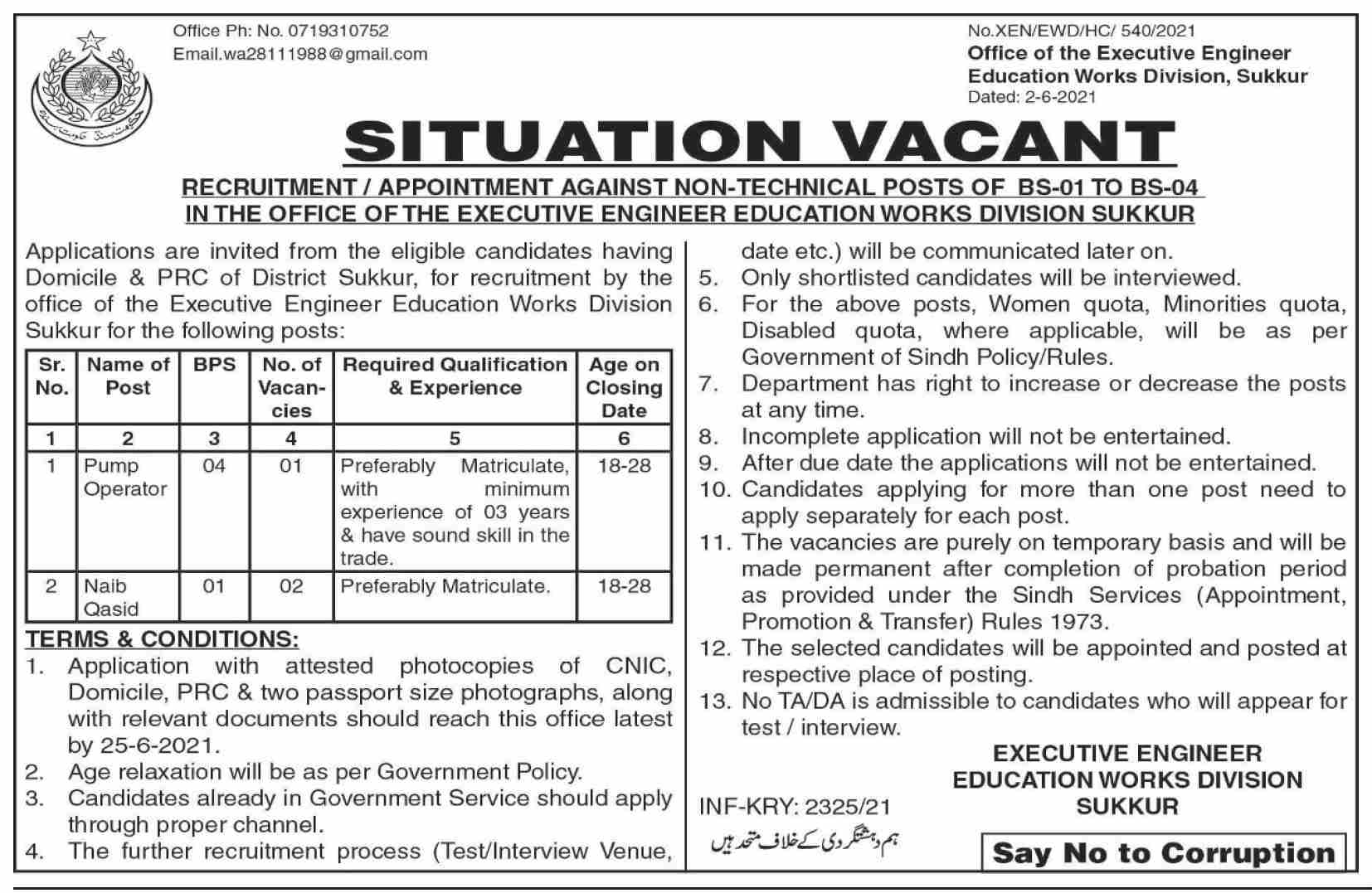 Office Of Executive Engineer Jobs In Sukkur June 2021