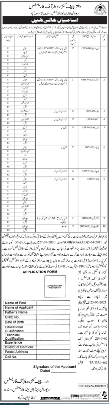 Office Of The Chief Conservator Of Forests Sindh Driving Jobs June 2021