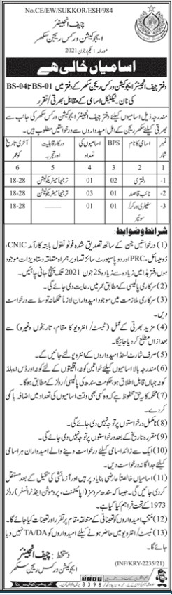 Office of the Chief Engineer Education Works Jobs June 2021 for Naib Qasid