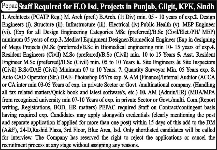 PEPAC Latest Jobs May 2021  Pakistan Environmental Planning and Architectural Consultants Job 2021