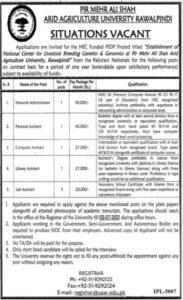 PMAS Arid Agriculture University Rawalpindi Jobs 2021 in Pakistan - www.uaar.edu.pk Jobs