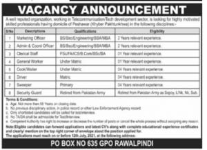 PO Box 635 GPO Rawalpindi Latest Jobs 2021 Download Application Form