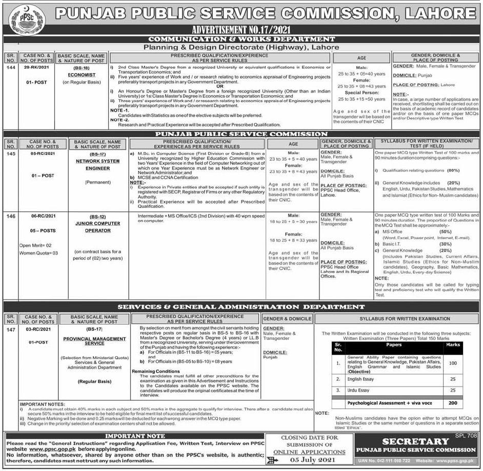 PPSC Jobs 2021 Advertisement No. 17 Punjab Public Service Commission Jobs