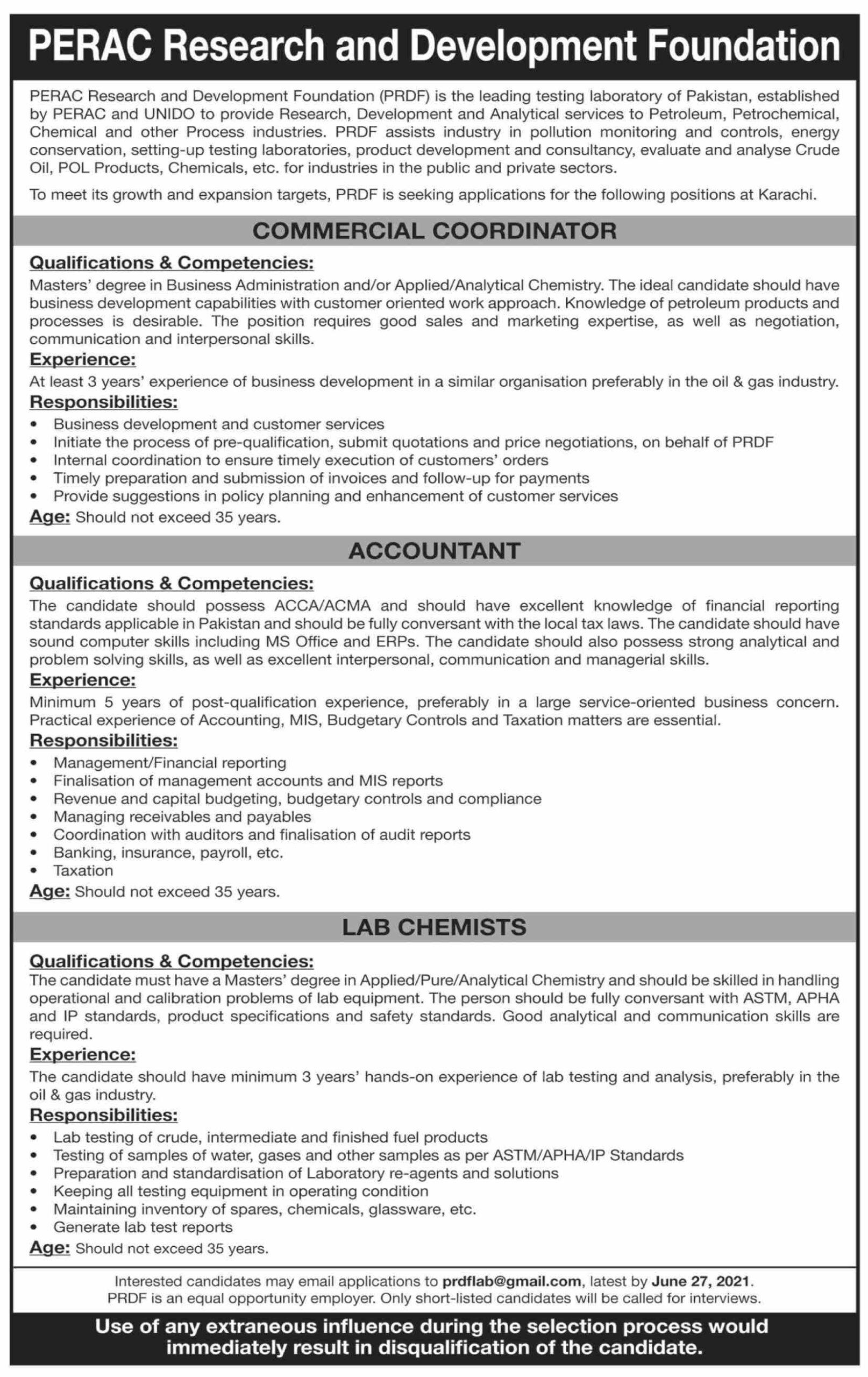 PRDF Jobs June 2021 PERAC Research and Development Foundation Job June 2021