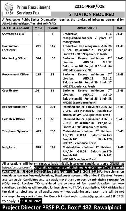 PRSP Jobs 2021 Prime Recruitment Services Pakistan- 3644 Posts