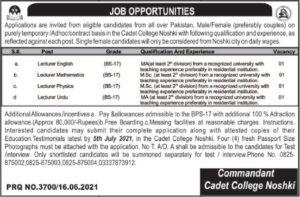 Pak Army Cadet College Noshki Jobs June 2021 For Teaching Staff