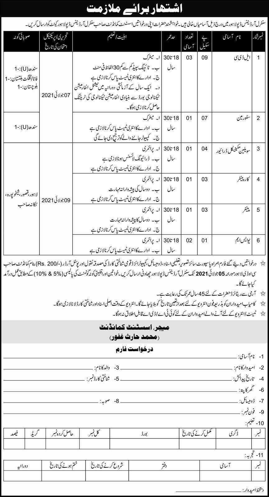 Pak Army Central Ordnance Depot COD Lahore Jobs June 2021