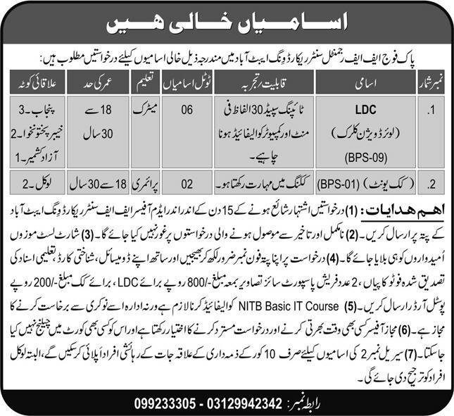 Pak Army Ff Regmintal Center Record Wing Abbottabad Jobs June 2021