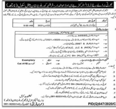 Pak Army Frontier Corps North Balochistan June Jobs 2021