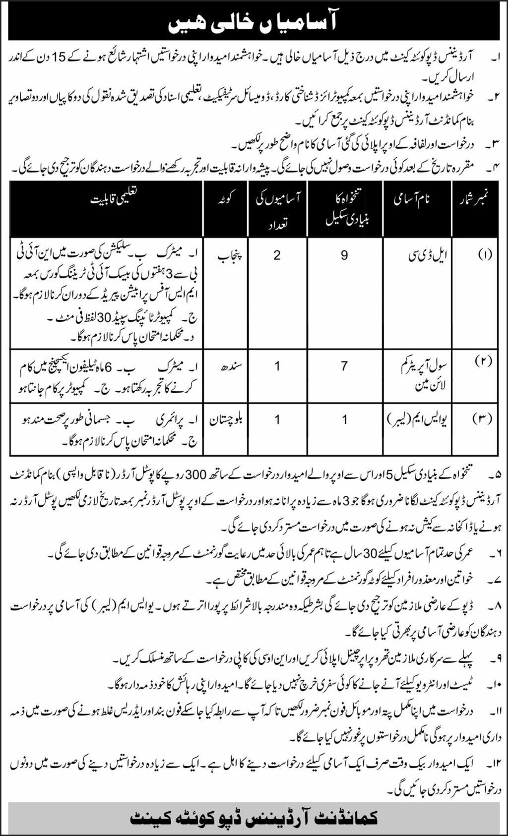 Pak Army Ordnance Depot Quetta Jobs June 2021 Advertisement