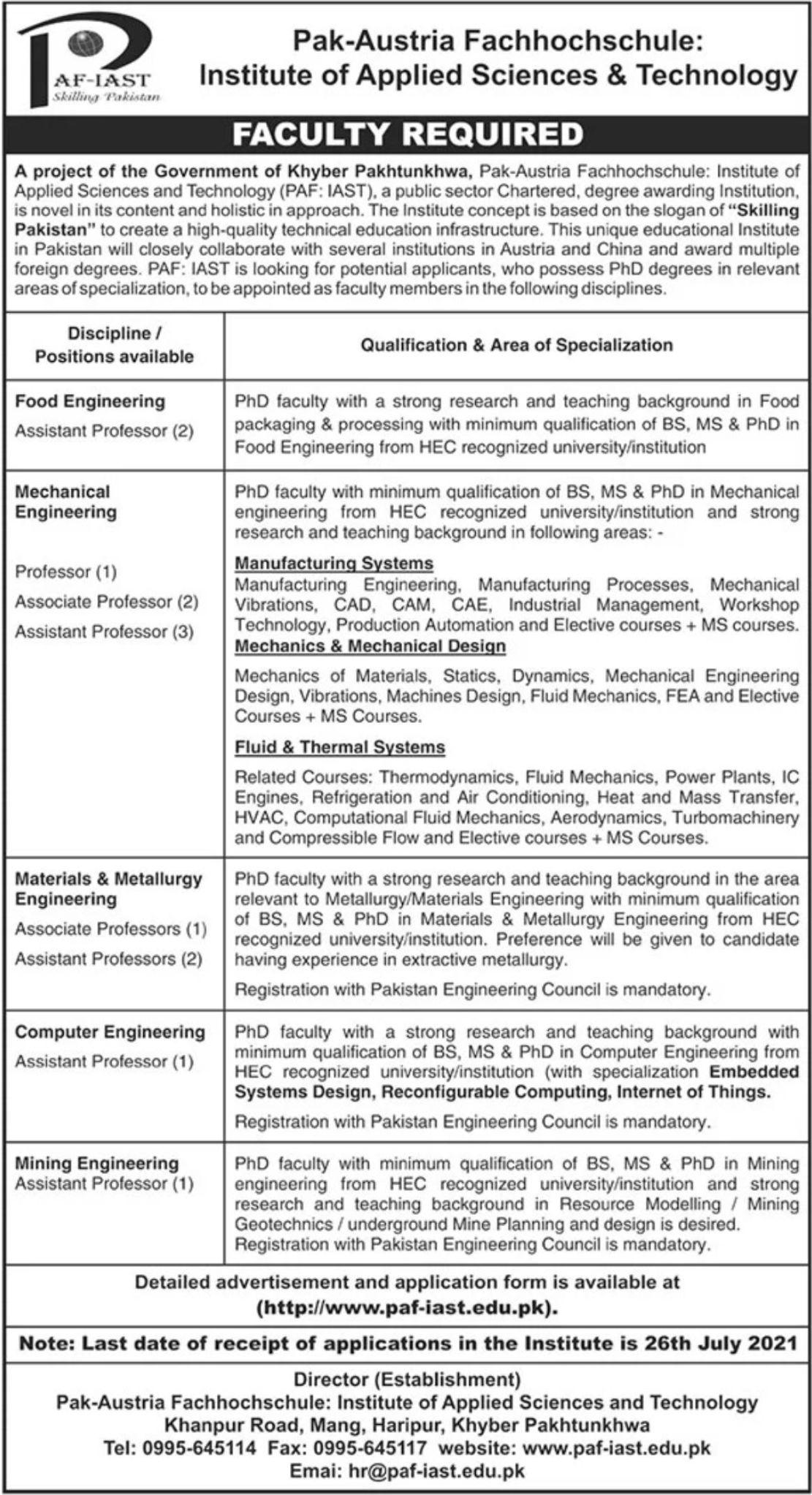 Pak Austria University Haripur Jobs June 2021 Download Application Form