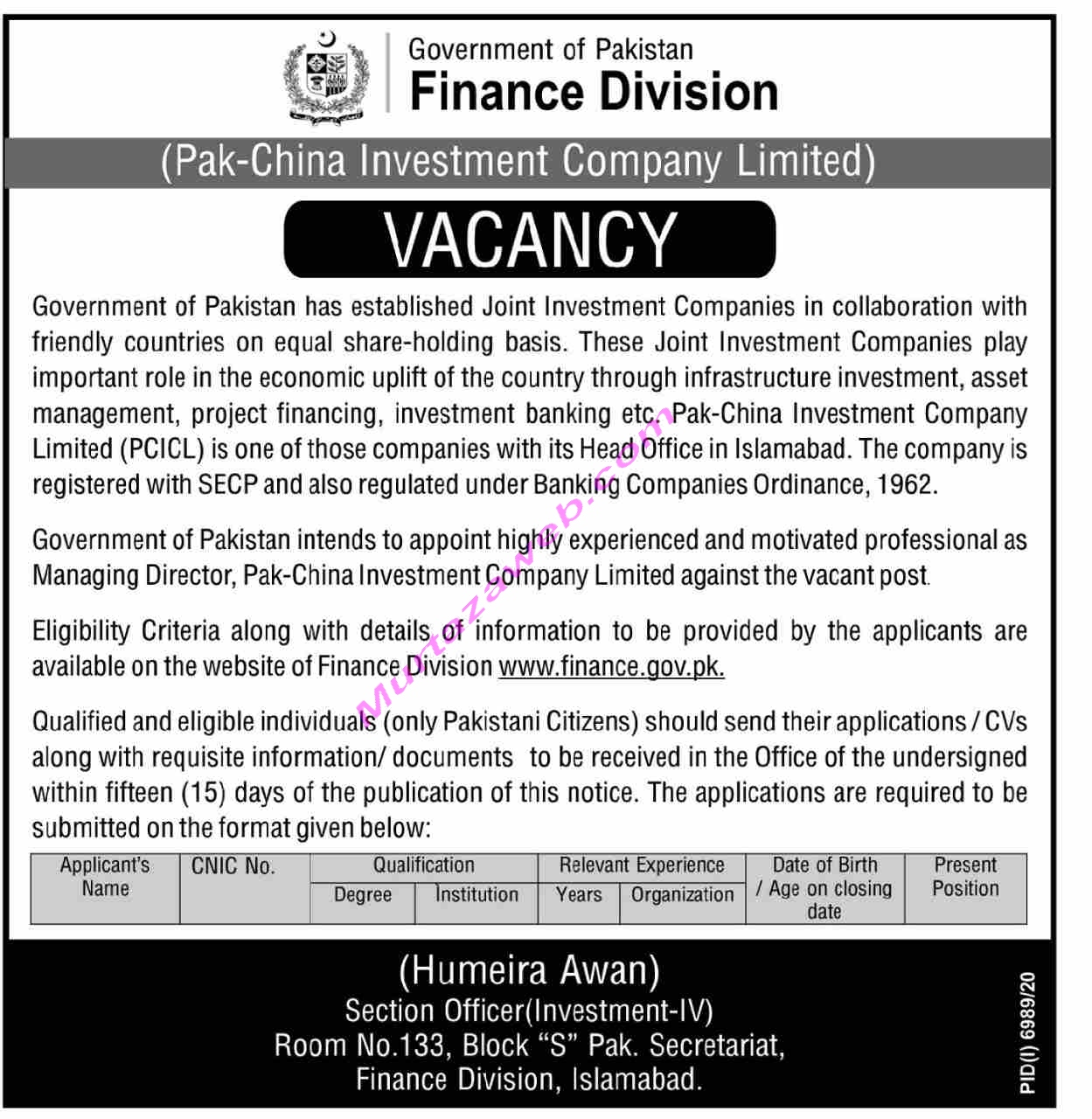 Pak China Investment Company Limited Jobs 2021 Finance Division