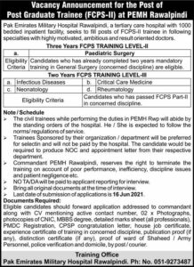 Pak Emirates Military Hospital PEMH Jobs 2021 in Pakistan - PEMH Jobs 2021 Latest Vacancies