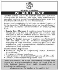 Pakistan Cables Ltd Jobs 2021 For Deputy Sales Manager and Deputy Production Manager - jobs@pakistancables.com