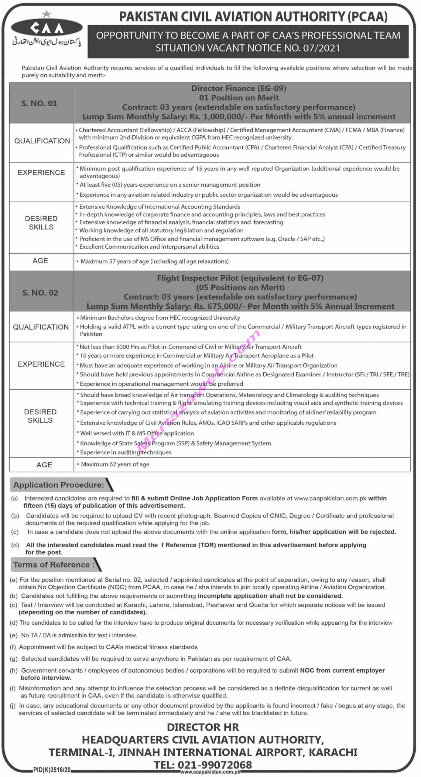 Pakistan Civil Aviation Authority PCAA Jobs 2021 for Director Finance