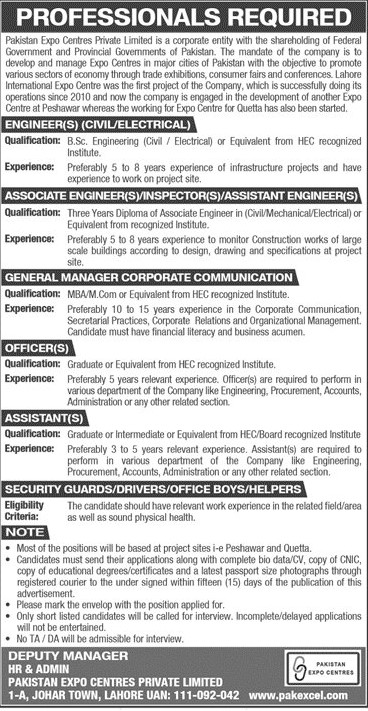 Pakistan Expo Centers Private Limited Jobs 2021 Download Form 50+Posts