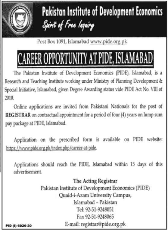 Pakistan Institute of Development Economics Islamabad Jobs www.pide.org.pk