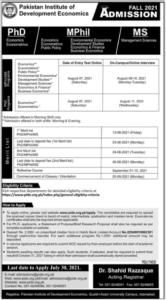 Pakistan Institute of Development Economics PIDE Admission June 2021