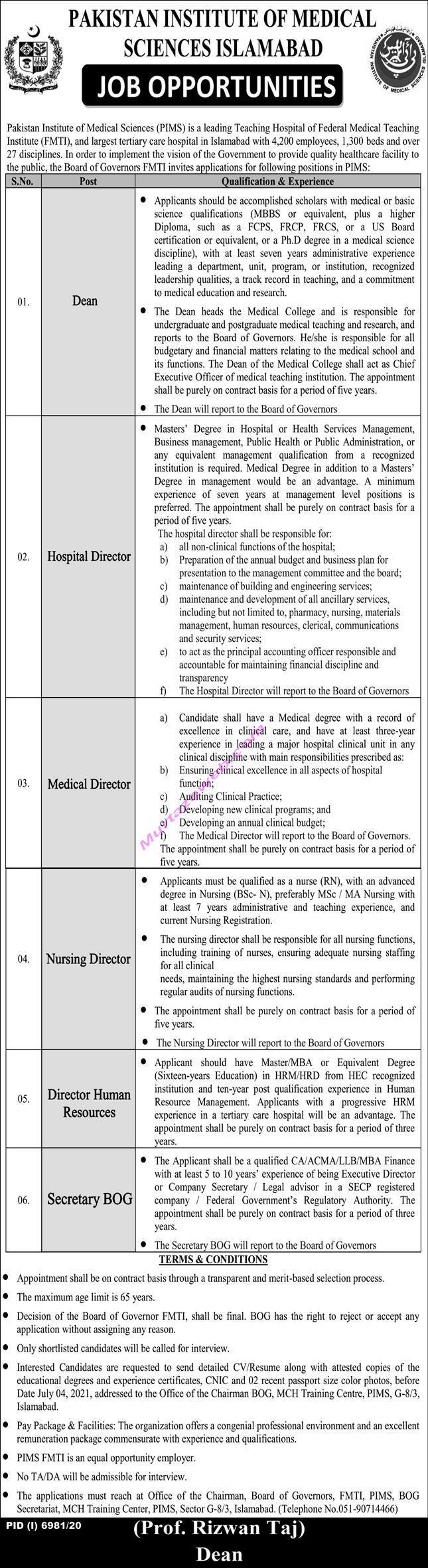 Pakistan Institute of Medical Sciences Islamabad Jobs 2021