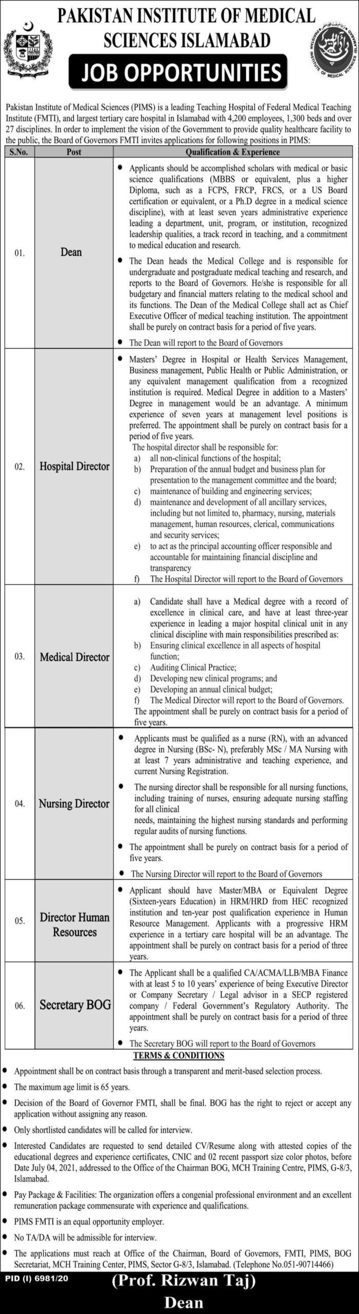 Pakistan Institute of Medical Sciences PIMS Hospital Jobs June 2021