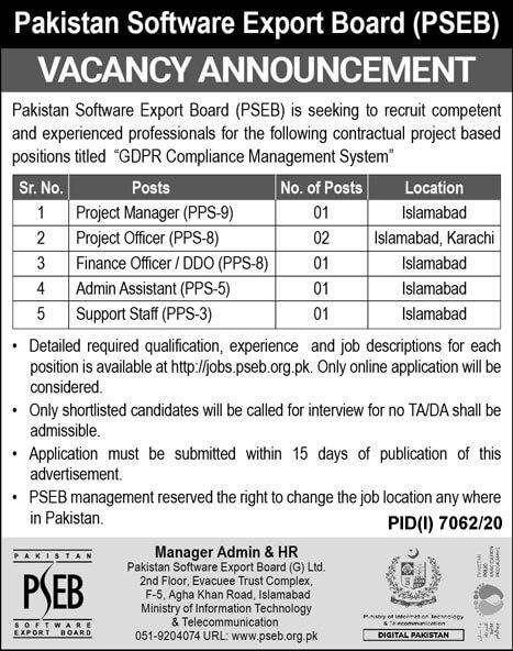 Pakistan Software Export Board PSEB Jobs June 2021 Apply Online