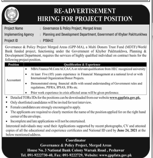 Planning And Development Department Kpk Accountant Jobs June 2021