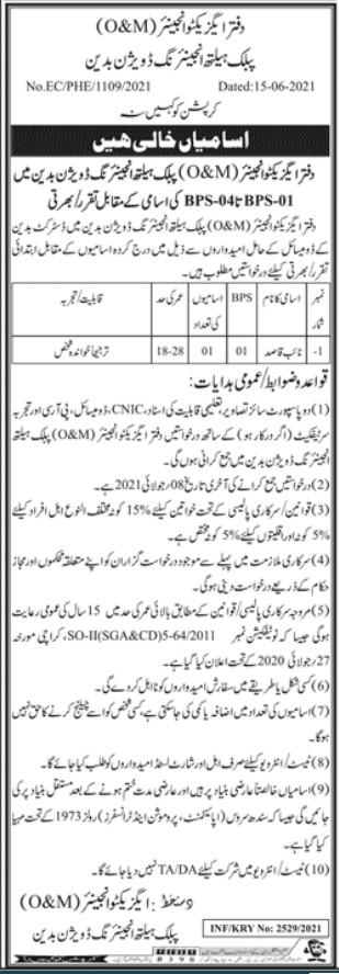 Public Health Engineering Division Badin Jobs 2021 for Naib Qqasid