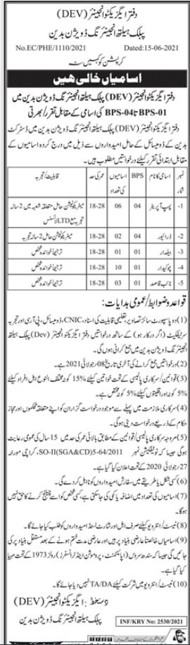 Public Health Engineering Division Badin Jobs 2021 for Naib Qqasid,Pump Operator, Driver