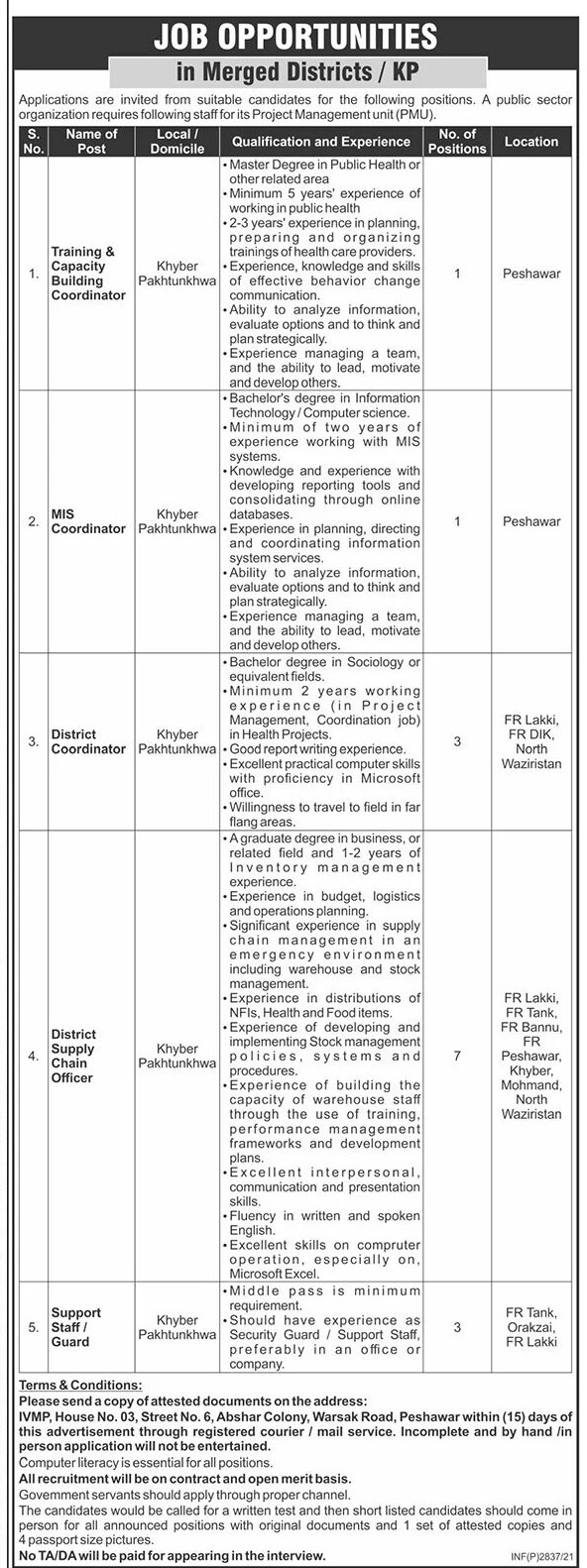 Public Sector Jobs Peshawar June 2021 Graduate Level