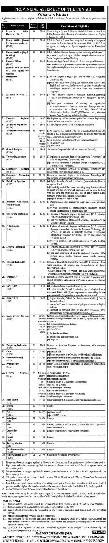 Punjab Assembly Jobs June 2021 (300+ Vacancies ) Through Test OTS