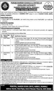 Punjab Daanish Schools Mianwali Jobs June 2021