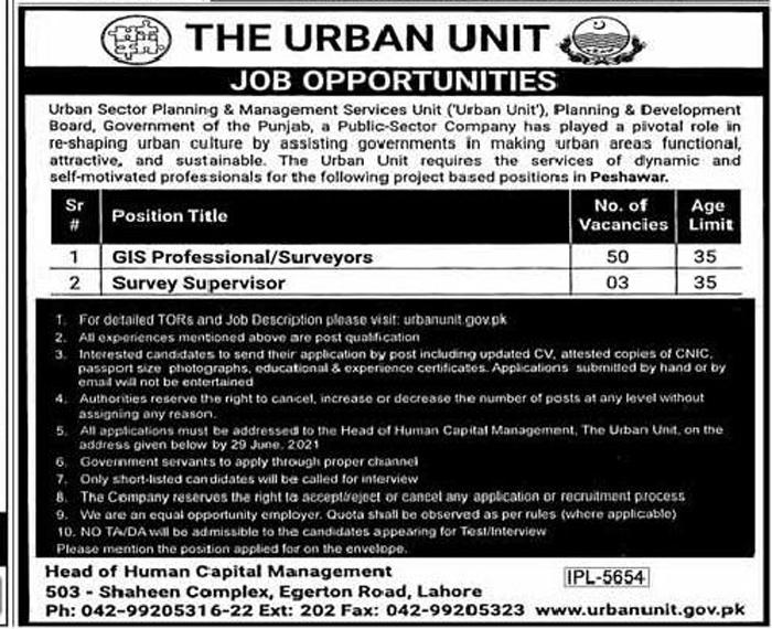 Punjab Government Urban Unit Jobs 2021 Latest Advertisement - Application Form