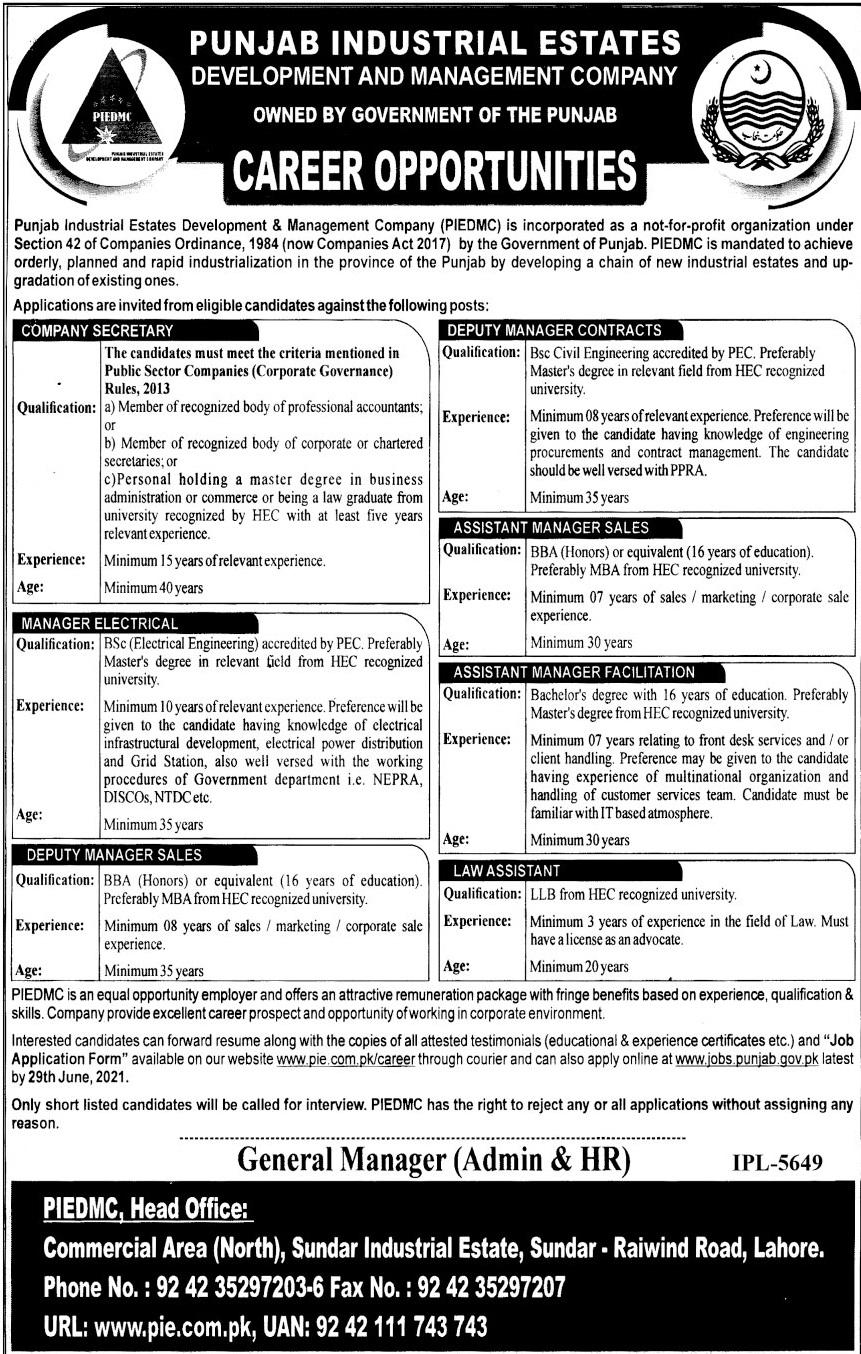 Punjab Industrial Estates Jobs June 2021 in Lahore