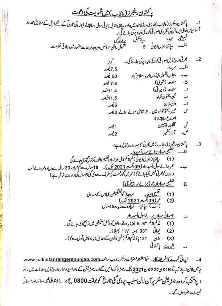 Punjab Rangers Jobs June 2021 Apply Online For Sepoy General Duty - How to Apply Online Punjab Ranger Jobs