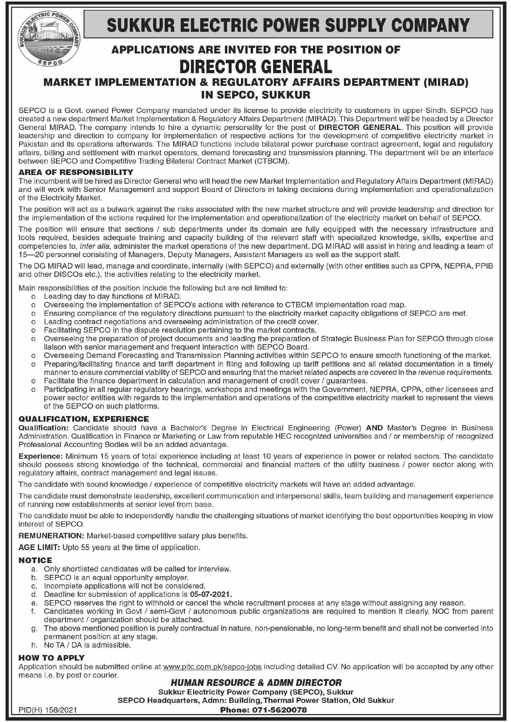 SEPCO Jobs in Sukkur 2021 Sukkur Electric Power Supply Company Job 2021