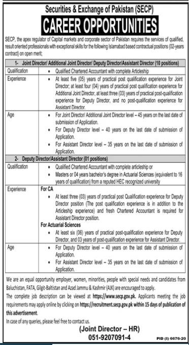 Securities And Exchange Of Pakistan Secp Jobs June  2021