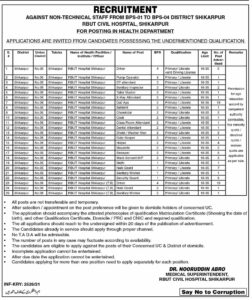 Sindh Health Department Jobs 2021 Download Form (80 Plus Posts)