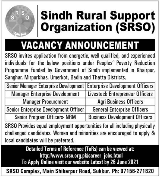 Sindh Rural Support Organization Sukkur Jobs June 2021
