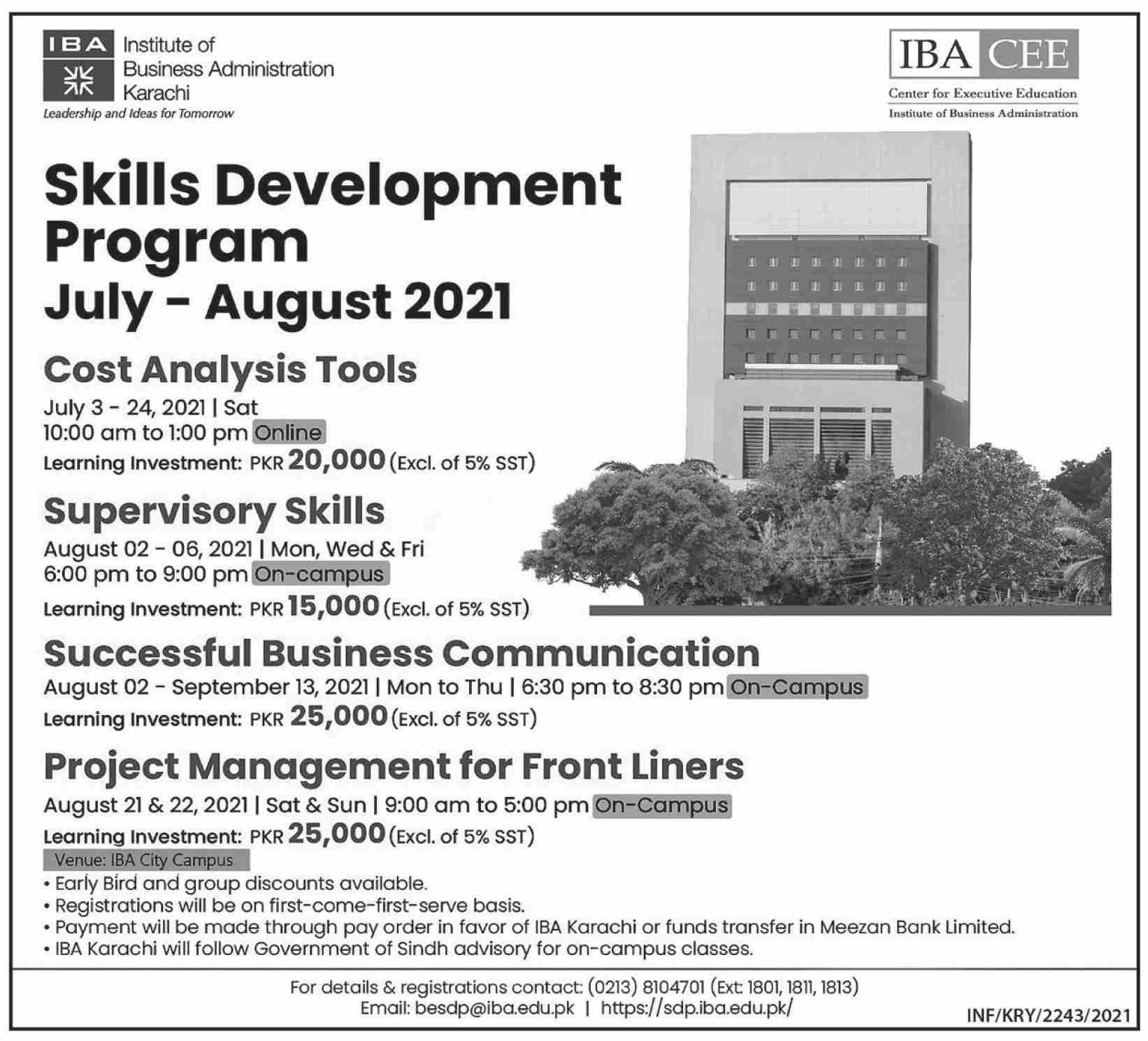 Skill Development Program July-August 2021 IBA