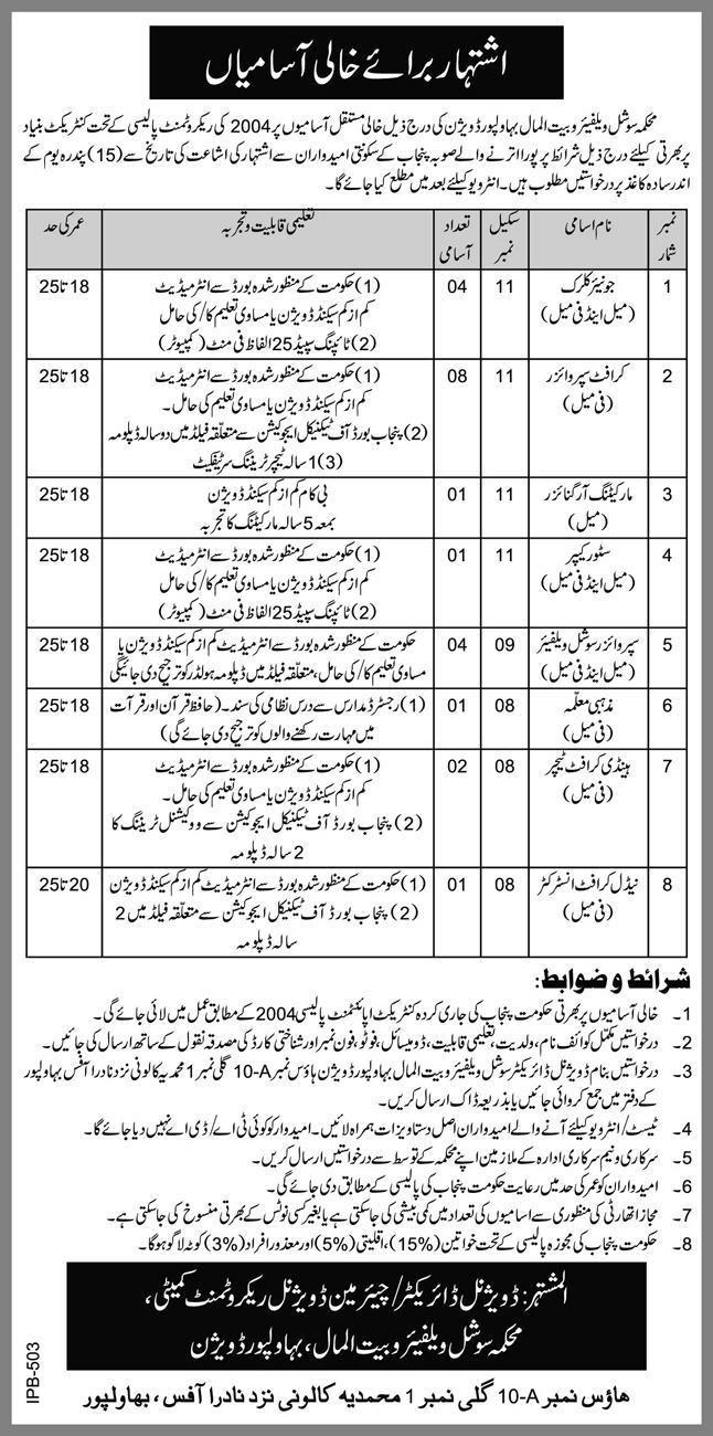 Social Welfare and Bait ul Maal Department Bahawalpur Jobs June 2021