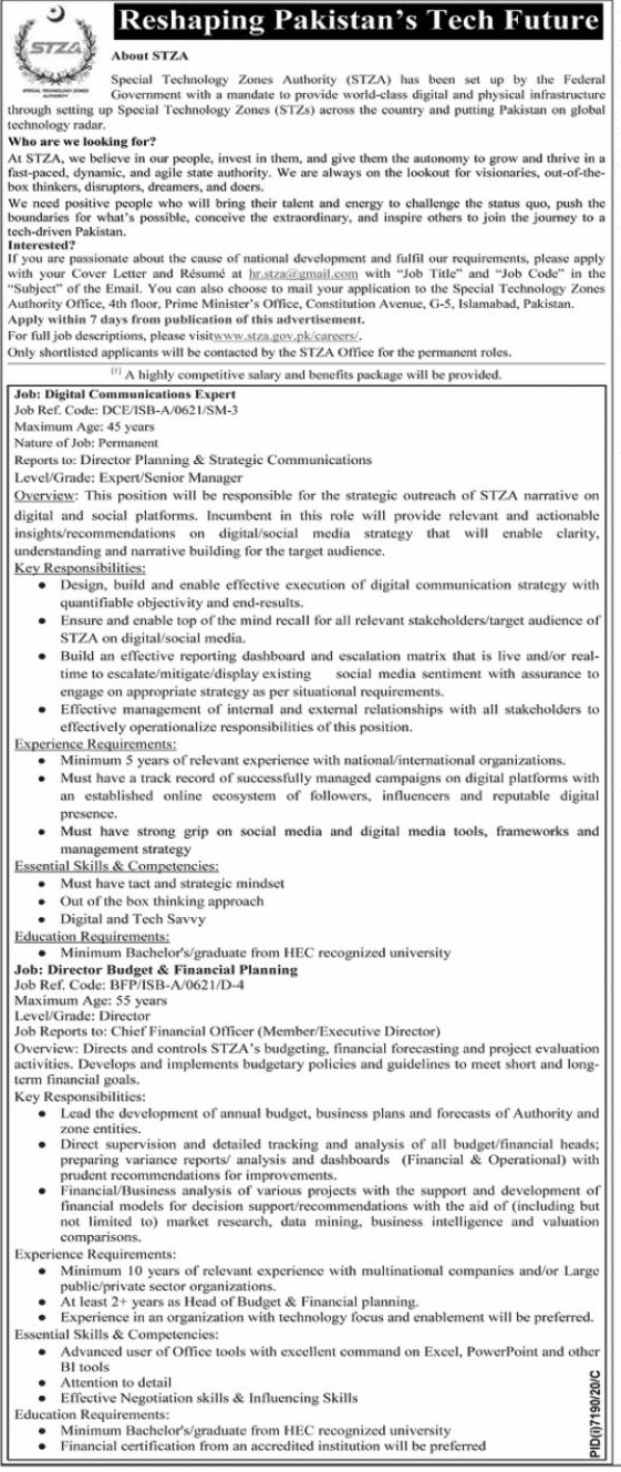 Special Technology Zones Authority STZA Jobs 2021